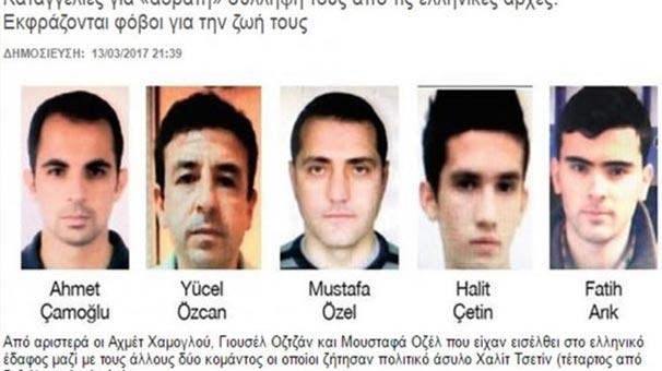 Yunanistan'ın To Vima Gazetesi, Yunanistan'a 5 darbeci askerin geldiğini duyurdu.