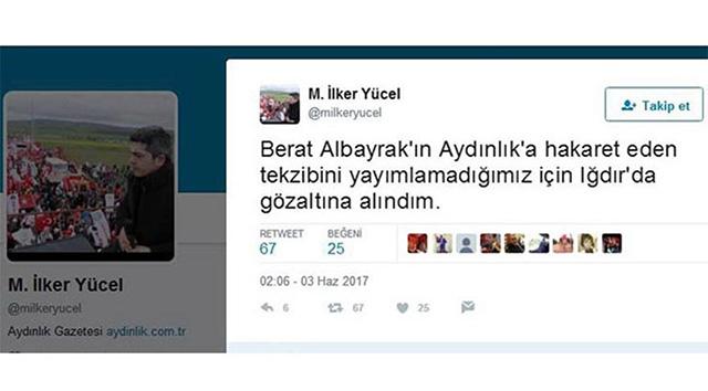 Aydınlık Gazetesi'nin Genel Yayın Yönetmeni tutuklandı